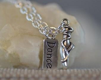 Ballerina Necklace, Ballet Slipper, dancer, dance, pretty silver gift, NB003