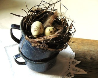Set of 2 Cobalt Blue Enamelware Cups/Mugs ~ Vintage Graniteware Farmhouse Kitchen Decor  / 0407