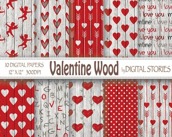 "Valentine Digital Paper: ""VALENTINE WOOD"" backgrounds with red arrows, hearts, angels for invites, cards, scrapbooking"
