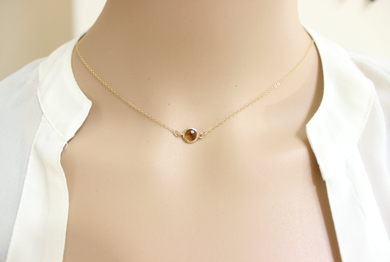 brown necklace delicate necklace simple necklace choker
