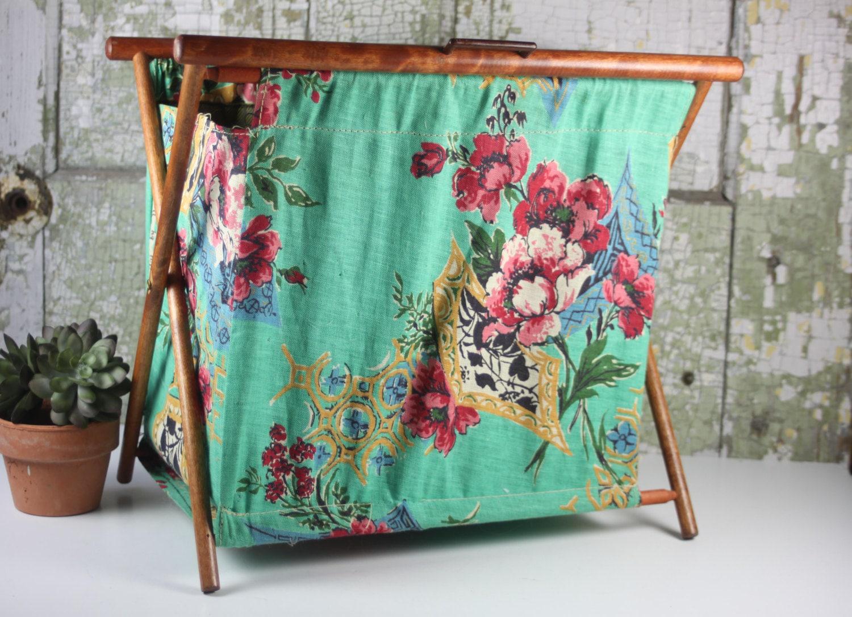 Vintage Folding Knitting Basket : Vintage folding knitting bag stand up or sewing