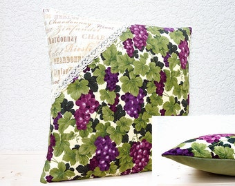 """Handmade 16""""x16"""" Cotton Cushion Pillow Cover in Claret/Green Grapes on Vine/Wine Names Design Prints with Lace Corner Detail"""