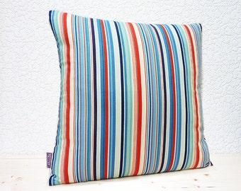 "Handmade 16""x16"" Red/White & Blue Nautical Stripe Fabric Design Cotton Cushion Pillow Cover"