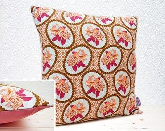 "Handmade 16""x16"" Rose Cotton Cushion Pillow Cover in Orange/Cerise & Brown Hand Drawn Garden by Anna Maria Horner for Free Spirit"
