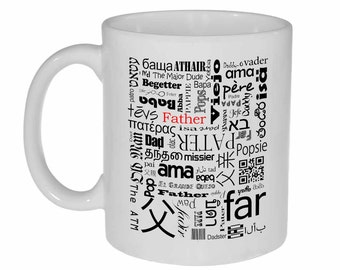 Father Words - many words for father coffee or tea mug