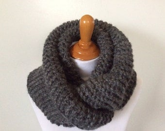 Chunky Knit infinity scarf in Charcoal color or SELECT COLOR, soft and warm
