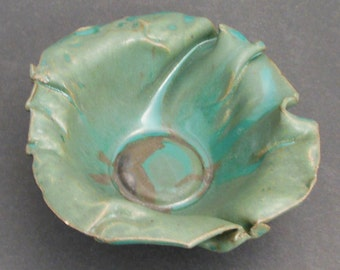 Pleated Turquoise Bowl
