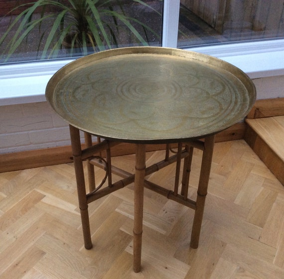 Brass Coffee Table Bamboo Base Vintage Mid Century Folding