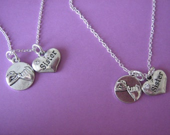Two Sister Necklaces Pinky Promise Charm Sister Heart Charm