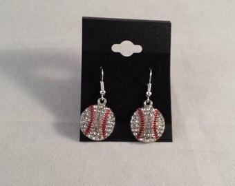 Sports Mom Bling Baseball Rhinestone Earrings