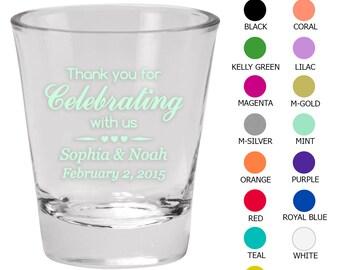 Wedding Shot Glass Favors (C1502) Thank You - Wedding Favors - Custom Glassware - Shot Glasses