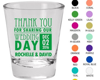 Wedding Shot Glass Favors (C1557) Thank You For Coming - Wedding Favors - Custom Glassware - Shot Glasses