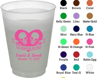 16 oz Custom Frosted Cups (Clipart 1752) Til Death Do Us Part - Wedding Favors - Wedding Cups - Personalized Plastic Cups