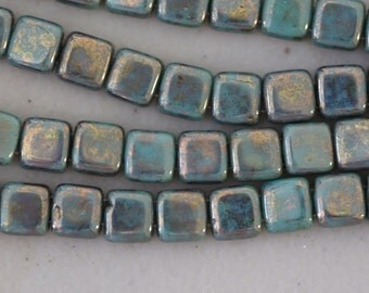 Bronze Picasso-Turquoise : Czechmates Tile, 6mm, 2 Hole Czech Beads 25pc. (D-18F)
