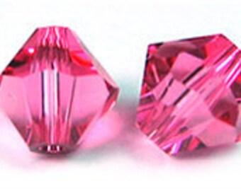 Rose~6 mm Xillion Bicone (5328) Genuine Swarovski crystals. you choose size.