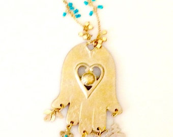 Large Gold Hamsa Hand Pendant Necklace Long Linked Chain Necklace - Turquoise and Gold Beads