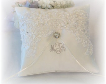 Ring Bearer Pillow, Ivory Ring Bearer Pillow, Monogrammed Ring Bearer Pillow, Personalized Ring Bearer Pillow