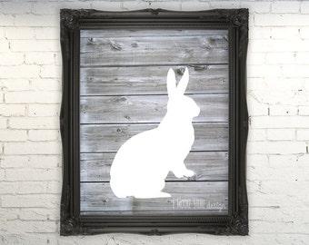 50% OFF  Bunny on Faux Wood Art Print , Modern Nursery Wall Decor, Nursery Art Print, Woodland Nursery Print