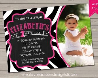 Zebra print Brithday Party Invitations, Animal Print Invitation DIGITAL FILE