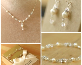 Bridal jewelry set, crystal and pearl bridal jewellery set, bridal necklace and earrings, Swarovski jewelry - Claudia