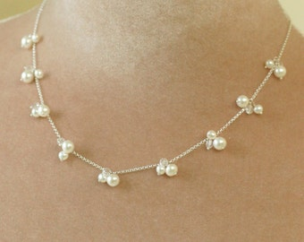 Pearl cluster necklace, freshwater pearl necklace bridal necklace pearl necklace wedding - May