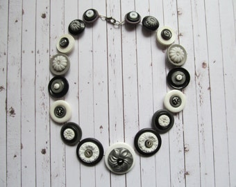 Button Necklace Black,Grey and White Button Necklace Button Necklace