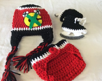 Chicago Blackhawk Baby Crochet Hockey Earflap Hat, Diaper Cover, and Skate Booties .