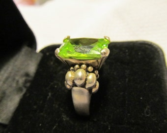 Beautiful Heavy Sterling Ring with Green Stone
