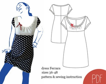 sewing pattern dress Ferrara, woman dress pattern, sewing pattern, PDF pattern, instant download