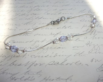 Delicate snakeskin chain anklet with crystals