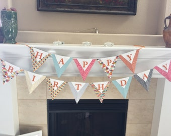 Happy Birthday Pennant Banner, Happy Birthday sign, Birthday party sign, Adults Birthday Banner, Kids Birthday banner