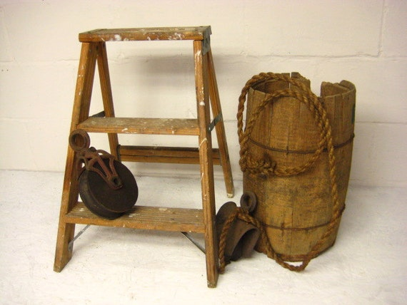 Vintage Wood Step Ladder Painters Stool By Rustbeltsanctuary