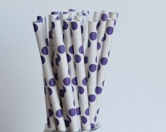 Purple Polka Dot Paper Straws-Purple Straws-Polka Dot Straws-Wedding Straws-Party Straws-Mason Jar Straws-Shower Straws-Cake Pop Sticks
