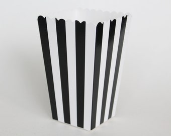 Black Striped Popcorn Box-Pop Corn Scoop-Black Favor Box-Party Favor Boxes-Striped Party Supplies-Black Birthday Party-Wedding Favor Box