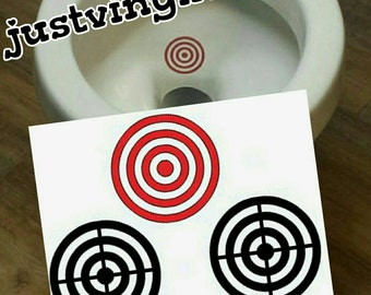 "Toilet Targets - Set of 3 bullseye Potty Training decals 2.5"" stickers bathroom vinyl  boys husbands will take aim"