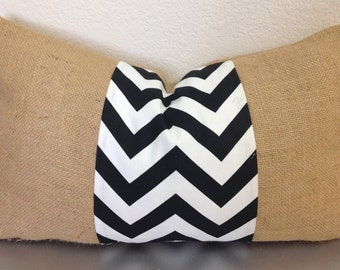 Burlap black chevron pillow cover - Gift Ideas/For her/Decor/Eco-Friendly/Winter Accessories/More/HandmadeWeddings/Friends & Coworkers/