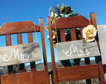 Mr & Mrs Wedding Chair Signs Rustic Pallet