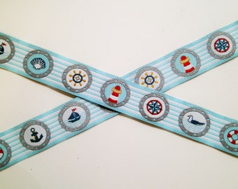 "1 m Woven Ribbon ""Bullauge"" 15 mm Design Farbenmix"