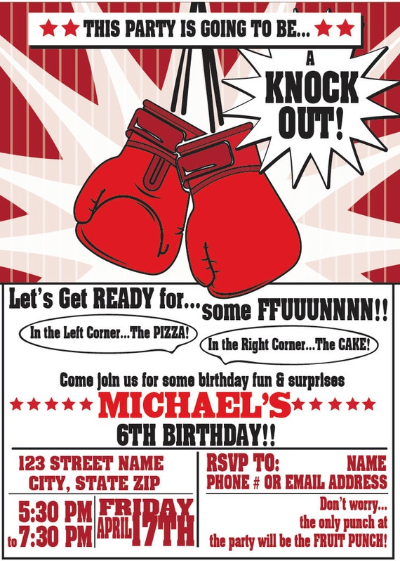 Boxing Party Invitations for any event Boxing Birthday Party