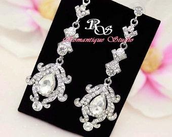 Long drop crystal wedding earrings  rhinestone bridal jewelry earrings statement earrings - 1272