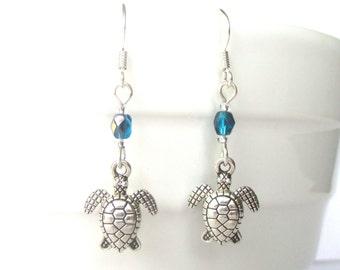 Tiny turtle earrings - Sea turtle jewellery - Beach jewellery - Diving gift - Beach earrings - Boho earrings - UK seller
