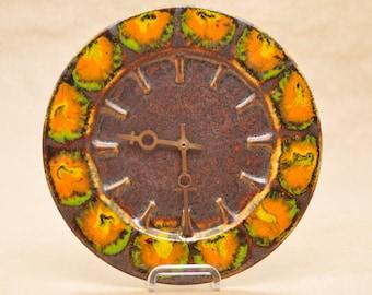 Kienzle clock - West German pottery - vintage kitchen clock - 1970s - Herbolzheimer - bronze, orange & green