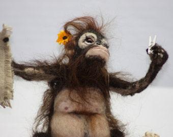 NOW  SOLD.Needle felted orangutan called Lola