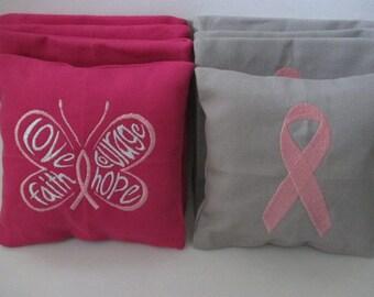 Breast Cancer Awareness Ribbon Cornhole Bags - Set of 8
