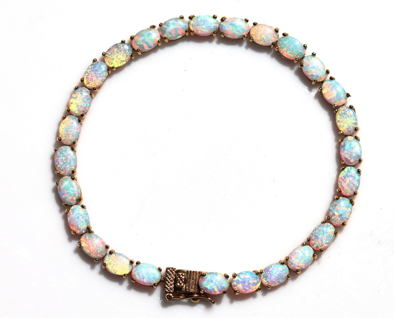 Opal Bracelet Tennis Bracelet Sterling Silver Gold