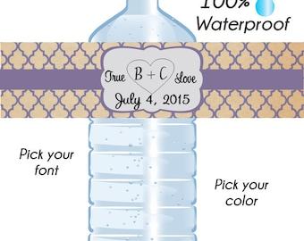 Custom Vintage Quatrefoil Water Bottle Labels, Wedding Labels, Waterproof Water Bottle Labels, Water Bottle Labels