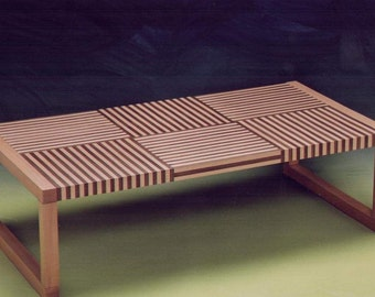 Low table with veneer stripes