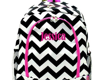 Personalized Backpack Monogrammed Bookbag Chevron Black White Hot Pink Large Canvas Kids Tote School Bag Embroidered Monogram Name