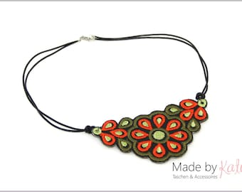 Necklace, leather necklace, embroidered leather - black, orange, olive