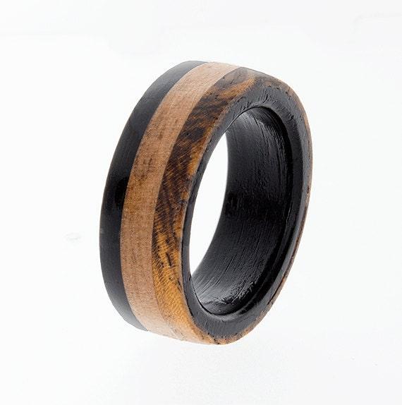 wooden wedding band mens wedding ring ebony ring wedding. Black Bedroom Furniture Sets. Home Design Ideas
